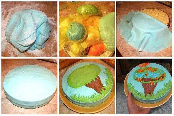 украшение тортов мастикой пошагово